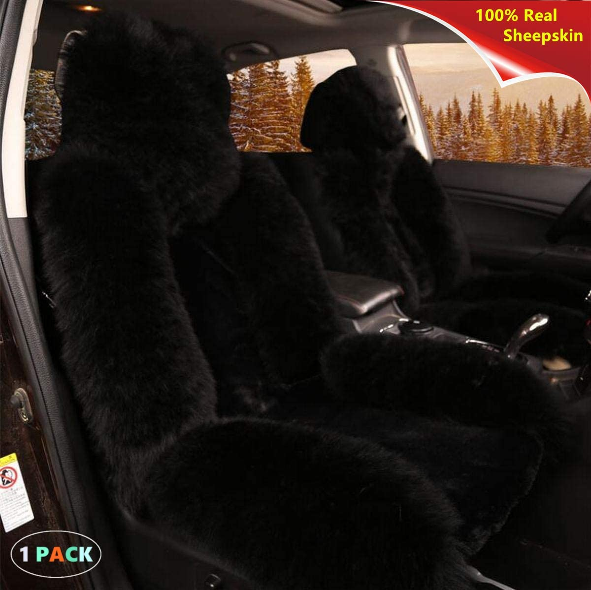 Soft Luxury Heavy Duty Sisha Natural Australian Sheepskin Wool Car Seat Cover for Front Seat SUV Seats Wine Truck Fluffy Winter Warm Seat Cushion Cover Fits Most Car