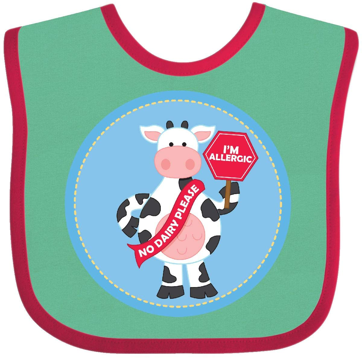 Amazon com: Inktastic - Dairy Allergy Cow Baby Bib Green and
