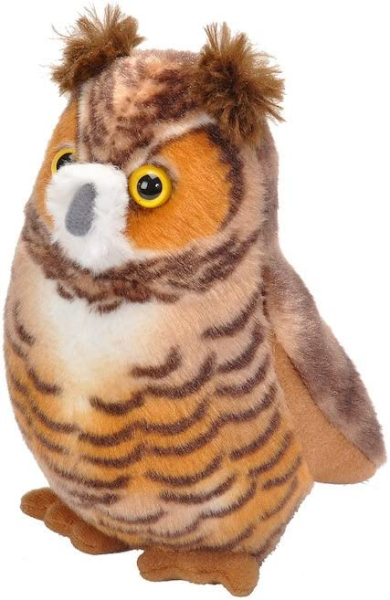 Wild Republic Audubon Birds Great Horned Owl with Authentic Bird Sound, Stuffed Animal, Bird Toys for Kids and Birders
