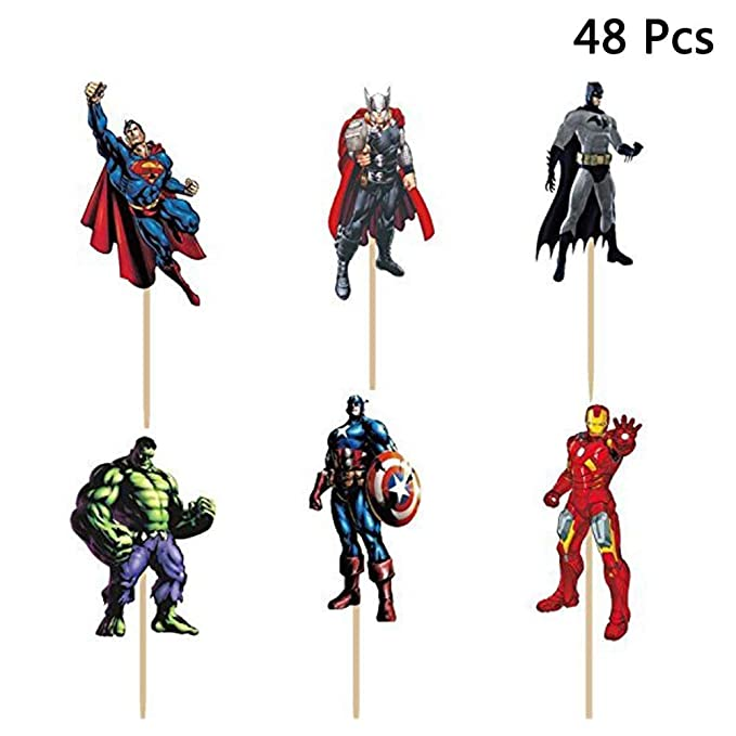 48 Pack The Avengers and Superheroes Cupcake Toppers para ...