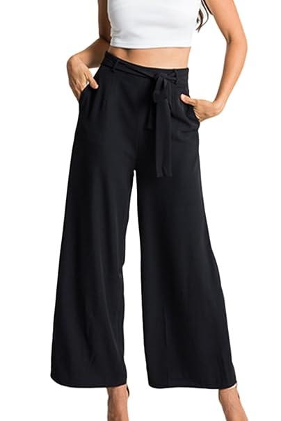 Carica Solida Le Pantaloni Gamba Larghi Eleganti Di Donne Paperbag tvqwx6Tgv