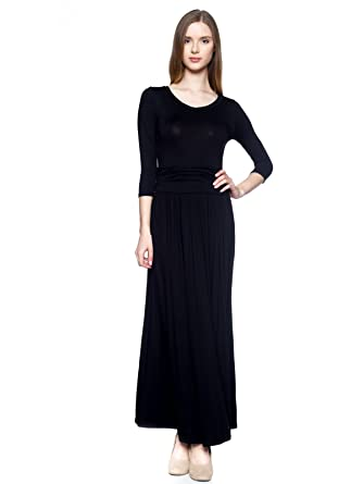 Womens Black Long Maxi Dress Ankle Length Sleeves With Scoop V