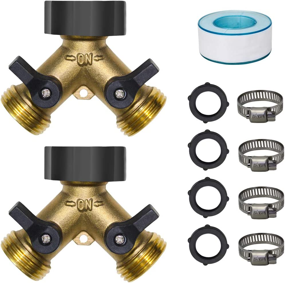 SUNPRO 2-Pack Garden Hose Splitter 2 Way, Y Connector Brass Garden Hose Adapter (2 Way)