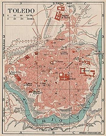 Toledo. Vintage Ciudad Ciudad Plan de mapa. España – Mapas de 1930 – Old Antiguo Mapa Vintage – Estampado de España: Amazon.es: Hogar