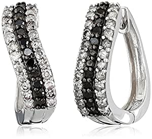 Sterling Silver Black and White Diamond Hoop Earrings (1 cttw, I Color, I3 Clarity)
