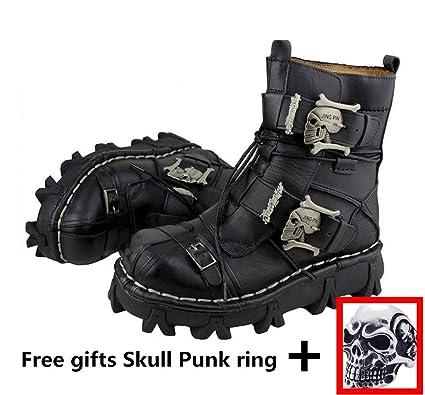 ac22235e6 Lecc Botas Martin para Hombre De Cuero Genuino Botas Militares Impermeables  De Bota Alta Gothic Skull