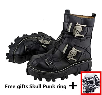 873f1931e49d Mens Martin Boots Genuine Leather Waterproof High Boot Army Boots Gothic  Skull Punk Motorcycle Steampunk Shoes