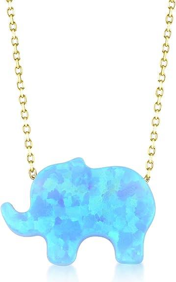 Gelin Collier pour femme en or jaune 585 14 carats véritable avec pendentif en forme d'éléphant porte-bonheur et pierre turquoise Chaîne 45 cm