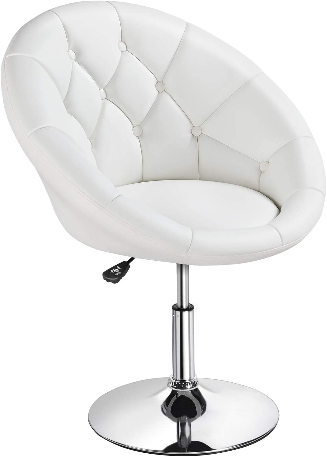 YAHEETECH Adjustable Modern Round Tufted Back Chair Tilt Swivel Chair Vanity Chair Barstool Lounge Pub Bar,White: Furniture & Decor