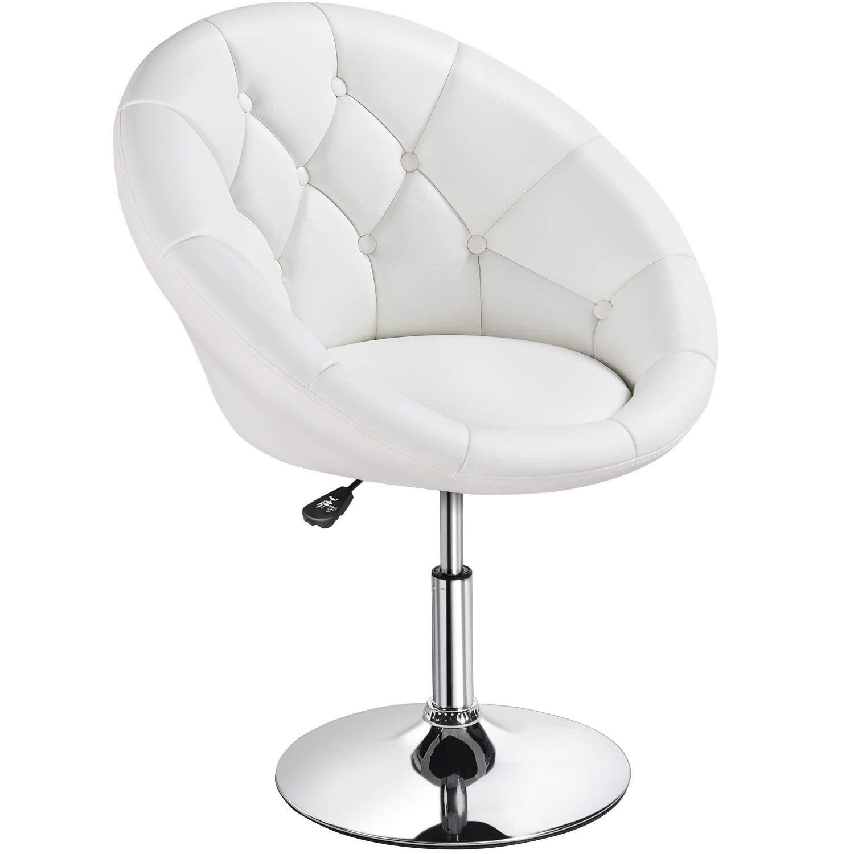 YAHEETECH Adjustable Modern Round Tufted Back Chair Tilt Swivel Chair  Vanity Chair Barstool Lounge Pub Bar,White