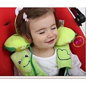 Inchant Baby Toddlers Head Neck Support Headrest and Safety Belt Cover Strap - Cartoon Green Frog - 1-4 Year
