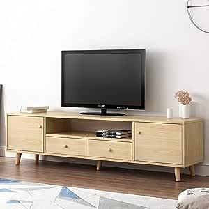 Moderno soporte de TV Media Storage TV Consola de salón centro de entretenimiento TV con cajones y estantes de almacenamiento abierto Low Profile Media Console mesita de noche mesa auxiliar: Amazon.es: Hogar