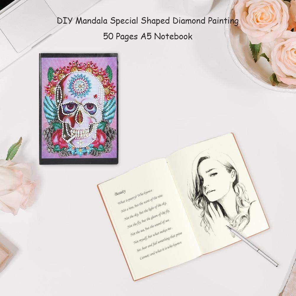 Premium Notebook Sketchbook with Diamond Painting Cover DIY Notepad Creative Diary Notes DIY Skull Special Shaped Diamond Painting 50 Pages A5 Sketchbook Notebook
