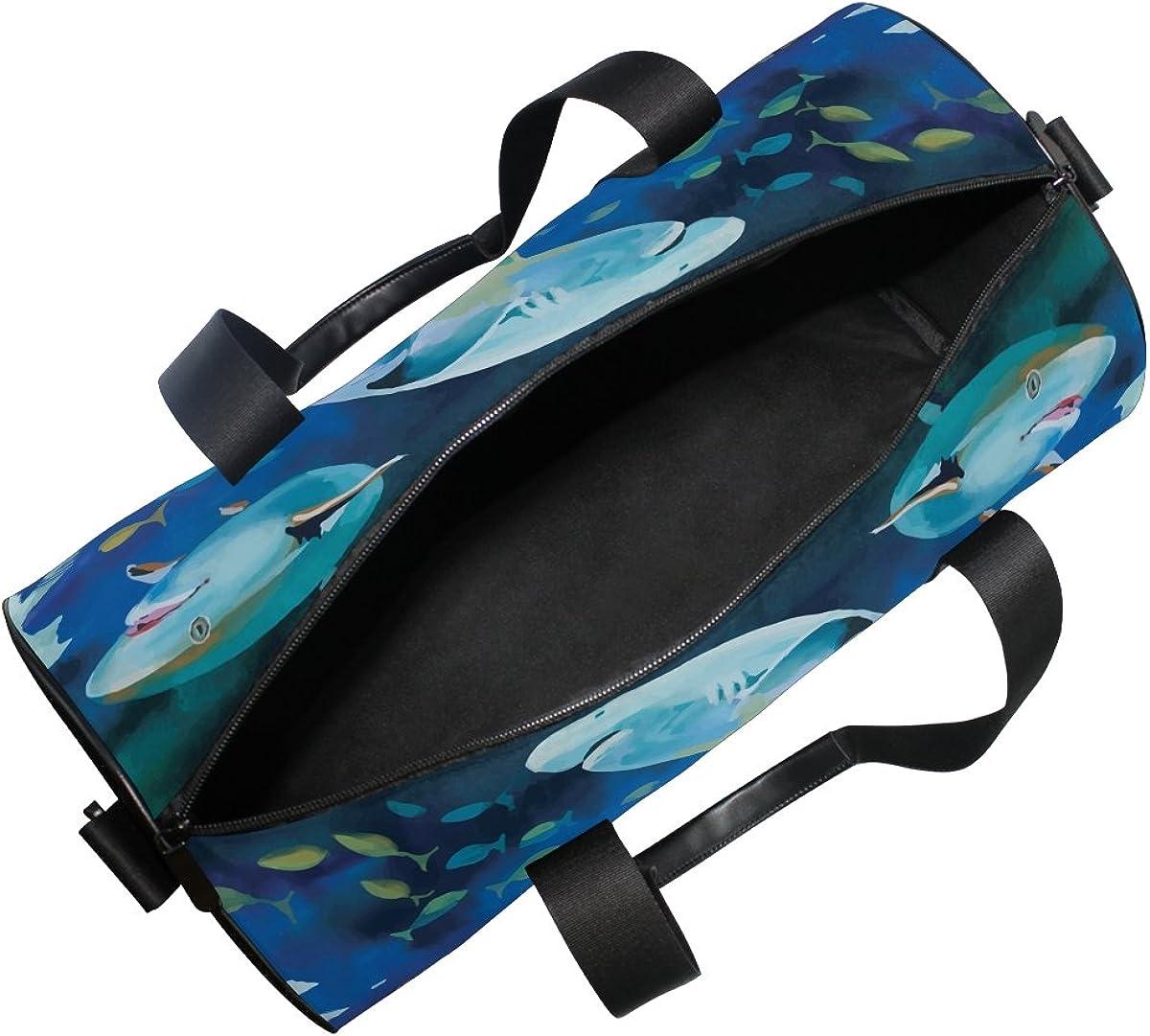 Evolutions Shark Watercolor Painting Travel Duffel Bag Sports Gym Bag For Men /& Women