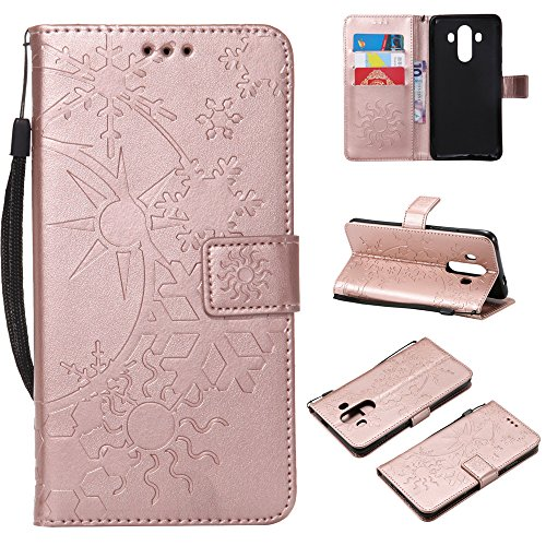 10 Pro Case, Huawei Mate 10 Pro Leather Wallet Case Book Design with Flip Cover and Stand [Credit Card Slot] Cover Case for Huawei Mate 10 Pro - Rose Gold ()