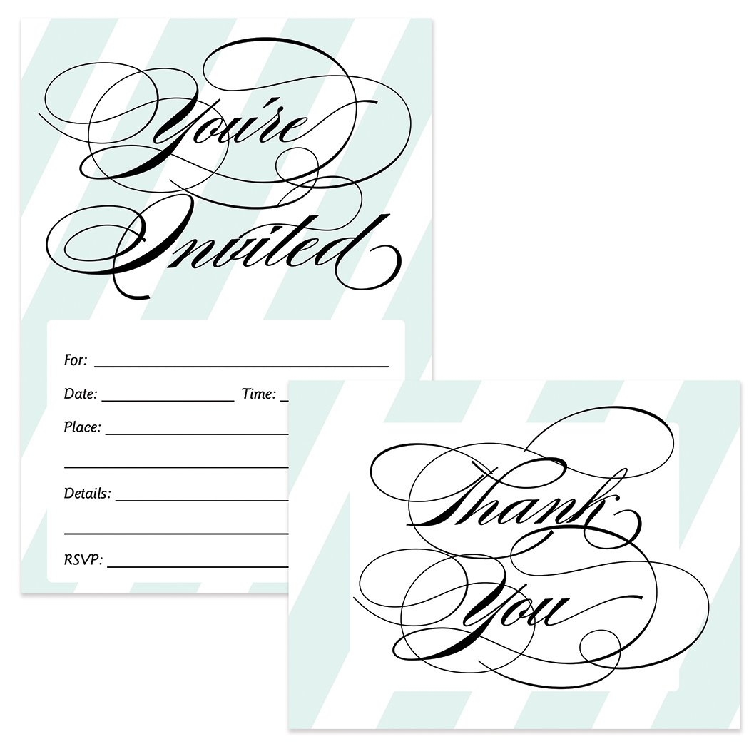 All Occasion Invitations & Thank You Cards Matched Set with Envelopes (50 of Each) Elegant Blue Stripe Fill-in-Style Invites & Folded Thank You Notes Graduation Birthday Wedding Shower Great Value