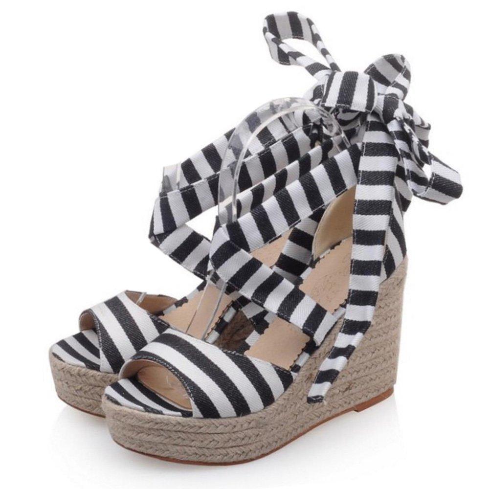 8ce75b2628a5 ... KemeKiss Women Striped Ankle Strap Open Toe Platform Wedge Sandals  Sandals Sandals B0728PHWRD 9 B( ...