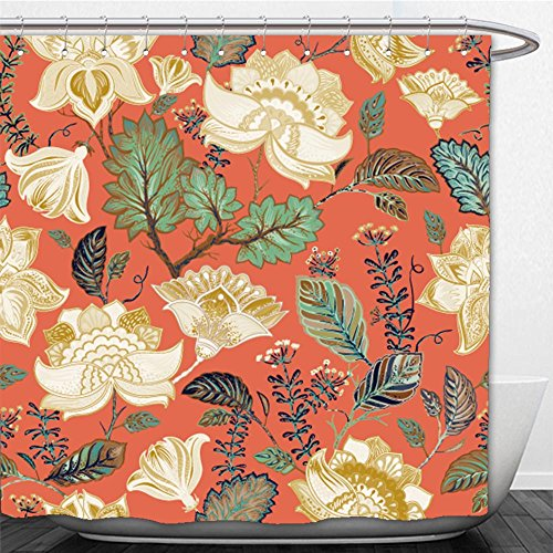 Beshowere Shower Curtain colorful seamless pattern floral background flowers wallpaper