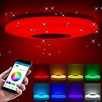 ShangSky - Lámpara de techo led regulable, altavoz