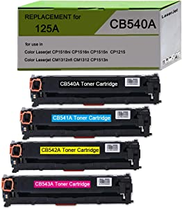 CP1215 Toner Replacement for HP 125A CB540A, BAISINE 4-Pack (CB540A Black, CB541A Cyan, CB542A Yellow, CB543A Magenta), Used in HP CP1518ni CP1215 CM1312nfi CP1515n CM1312 MFP Printer