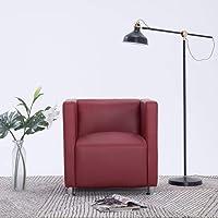 Tidyard Fauteuil Cube en Similicuir Doux et Confortable Design Elégant Rouge Bordeaux 69 x 54 x 71 cm