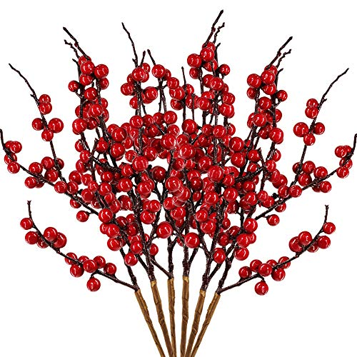 6 Pcs Artificial Red Berry Picks Faux Berry Spray Branches Christmas Berry Stems Red Berry Sprigs Twigs 17