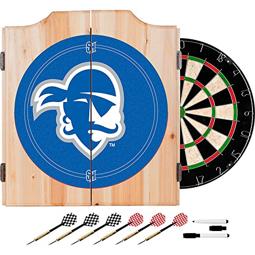 Seton Hall University Deluxe Solid Wood Cabinet Complete Dart Set - Officially Licensed! by TMG