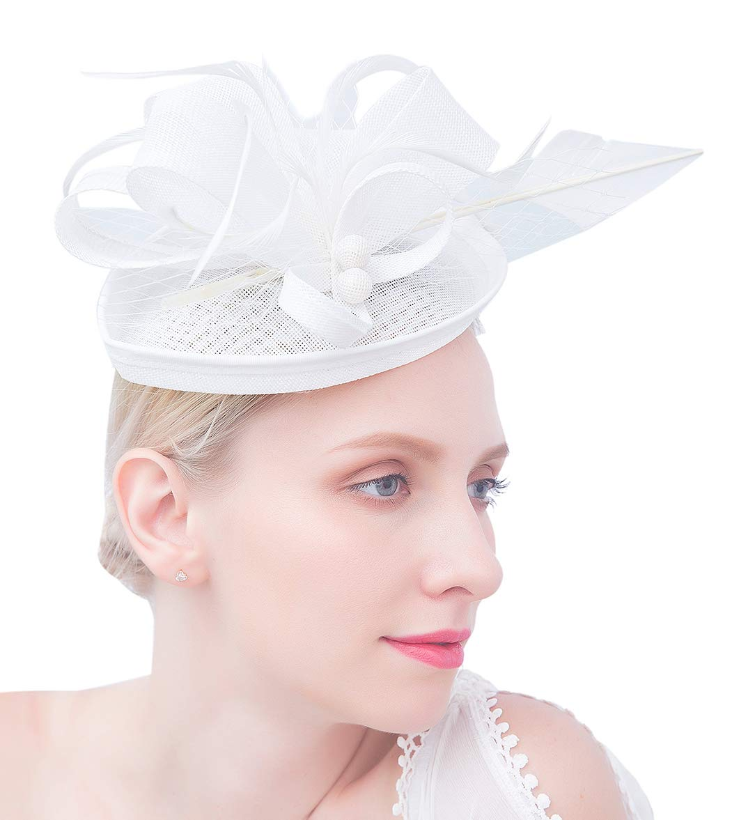 34924e3a Felizhouse Fascinator Hats for Women Ladies Feather Cocktail Party Hats  Bridal Headpieces Kentucky Derby Ascot Fascinator Headband (#2 Cambric  White). Store ...