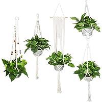 ValueHall Macrame Plant Hanger Set of 4 Flower Pot Holder Handmade Woven Cotton Plant Holder Wall Hanging Planter Basket…