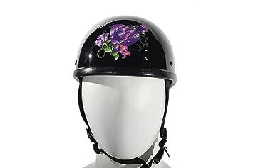Para mujer diseño de casco de moto negro brillante con morado rosa tatuajes diseño tamaño grande