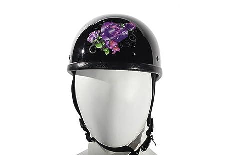 Amazon.com  Womens Novelty Motorcycle Helmet gloss black With Purple ... 14e8a5e0a