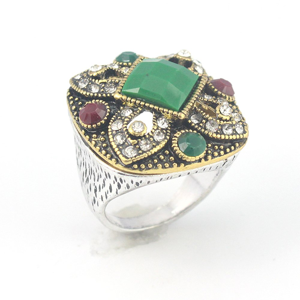 EMERALD RUBY VICTORIAN JEWELRY SILVER PLATED AND BRASS RING 9 S23836