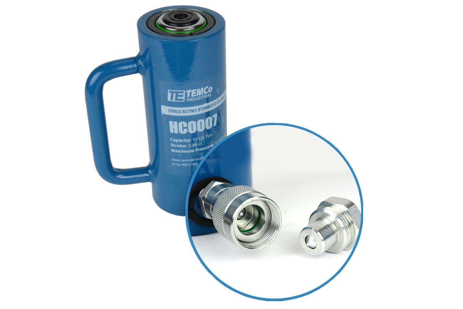 TEMCo HC0007 - Hydraulic Cylinder Ram Single Acting 10 TON 4'' Inch Stroke - 5 YEAR Warranty
