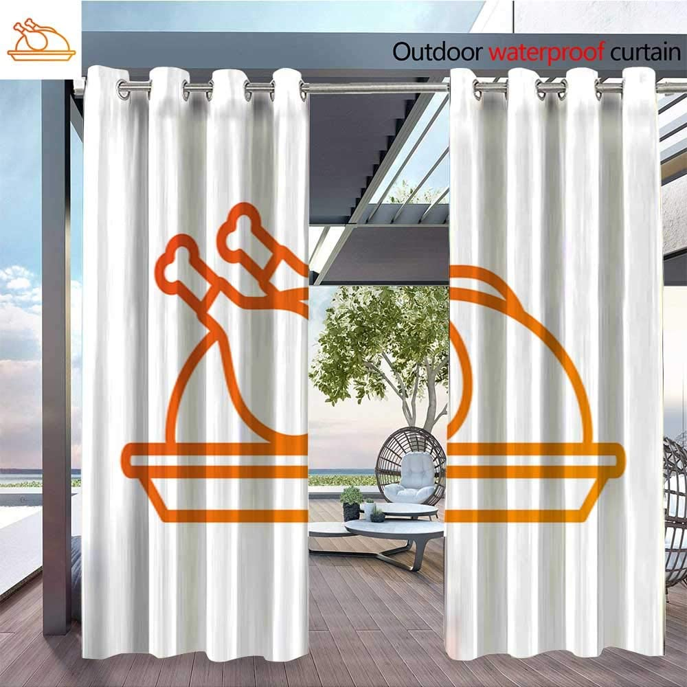 Cortina de privacidad para exteriores para pérgola Turkey-Chef-Cartoon-Mascot-Character-Holding-A-Cloche-Platter--Illustration-Flat- Design-Over-Background-With-Autumn-Leaves.jpg aislante térmico repelente al agua D: Amazon.es: Jardín