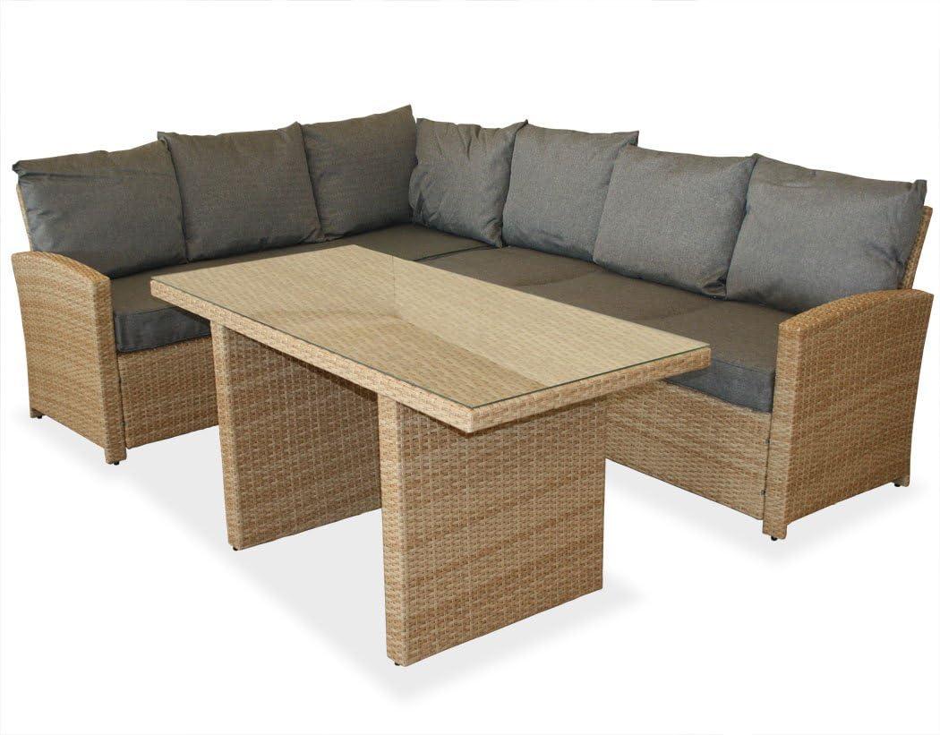 KMH®, große naturfarbene Gartensitzgruppe Lounge Esstisch Sofa Hannover inklusive Auflagen und Kissen (#106118)