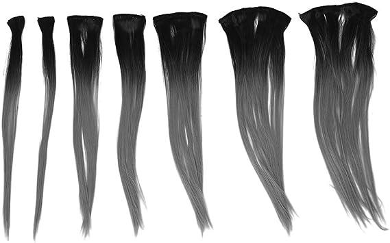 SODIAL(R) Clip en extensiones de cabello de color de cambio gradual Pelo tenido de tinte Clip en extensiones de cabello largo recto Negro a Gris ...