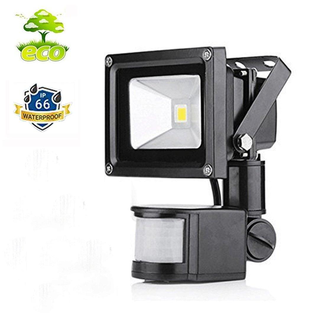 10W Foco con Sensor Movimiento Proyector LED Exterior Iluminación de Exterior y Seguridad para patio, jardín | Impermeable IP65 | 6000k Blanco Frío ...