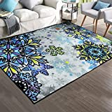 Soft Nylon Area Rugs Contemporary Living & Bedroom Indoor/ Outdoor Shag Rug 8mm Pile Height with Rubber Backing, Anti-Static, Water-Repellent Printed Rugs Ice, 3.3'x5'