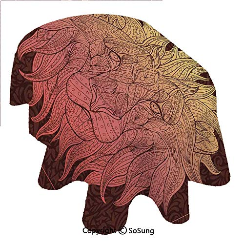 Safari Decor Oval Polyester Tablecloth,Patterned Ornate Lion Head with Digital Featuring Totem Asian Zoo Wild Boho Home Decor,Dining Room Kitchen Oval Table Cover, 54 x 72 inches,Yellow Maroon