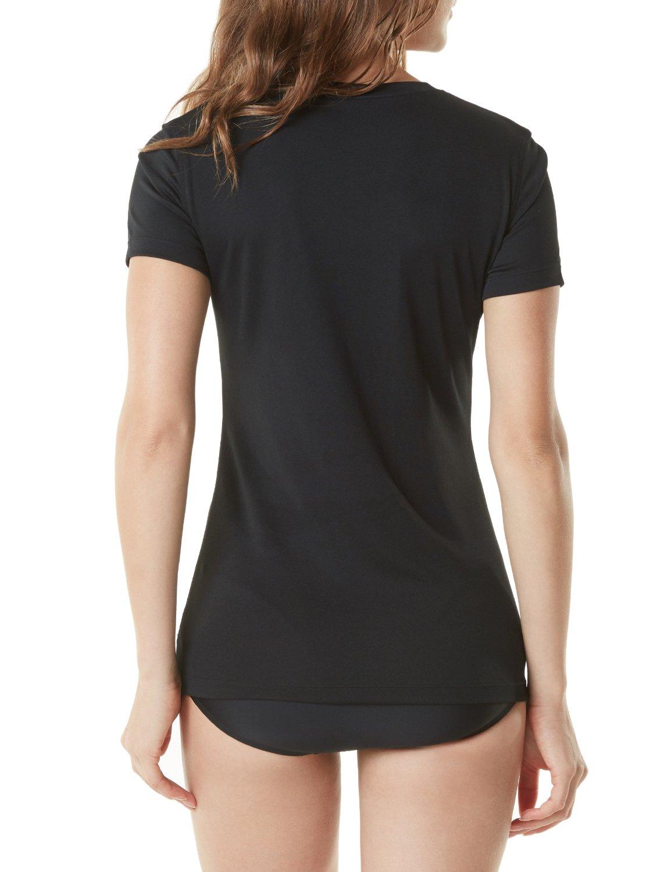 Tesla TM-FSS02-BLK_Large Women's UPF 50+Vneck Swimshirt Loose-Fit Short Sleeve Rashguard FSS02 by Tesla (Image #2)