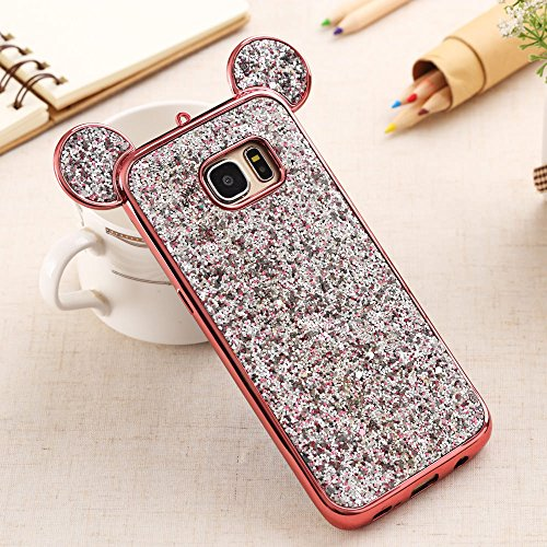 Bling Samsung Galaxy J3 (2015/2016) Case, LCHULLE Luxury Sparkle Glitter Diamond Soft TPU Case Shiny Pattern 3D Cute Ear Design Gems Rubber Protective Bumper Shell-Rose Gold