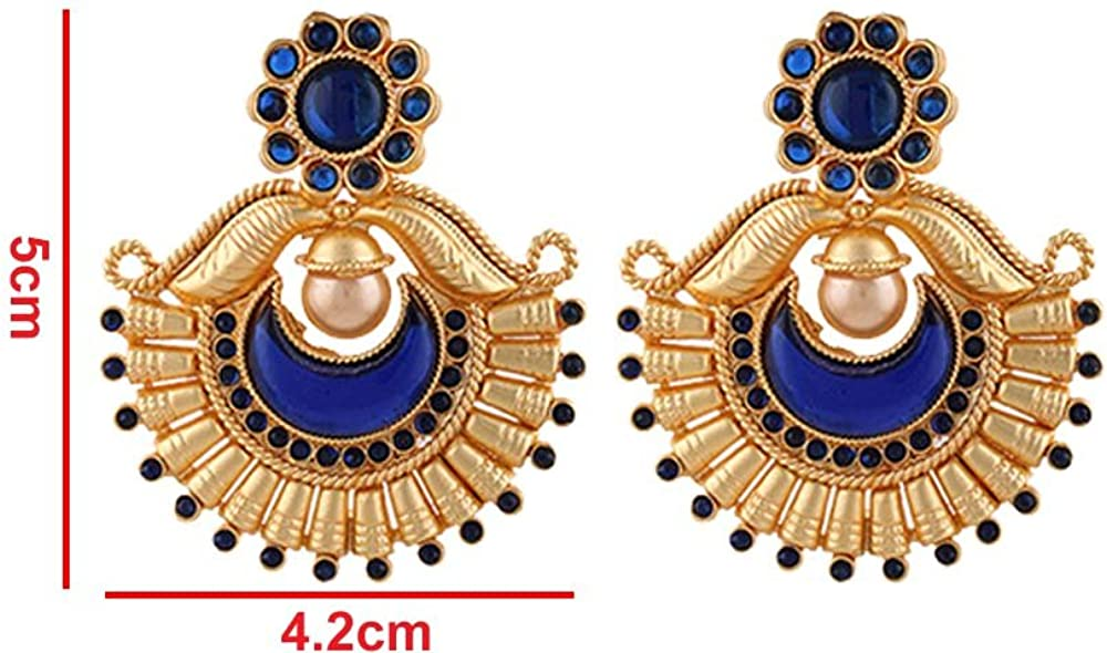 Terramart/_ Earring Set/_Fashion Jewellery for Women White, Black /& Gold Girls