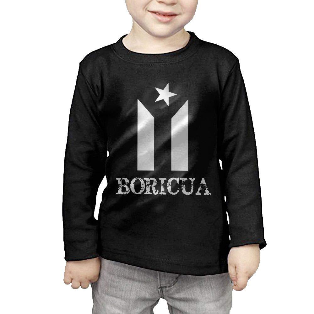 Toddler Kids Puerto Rico Resiste Boricua Flag Printed Long Sleeve 100/% Cotton Infants Tee Shirt