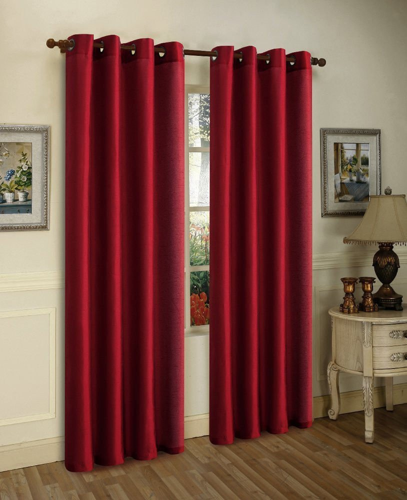 2pc Burgundy Red Solid Grommet Foam Lined Blackout Light Privacy Window Curtain