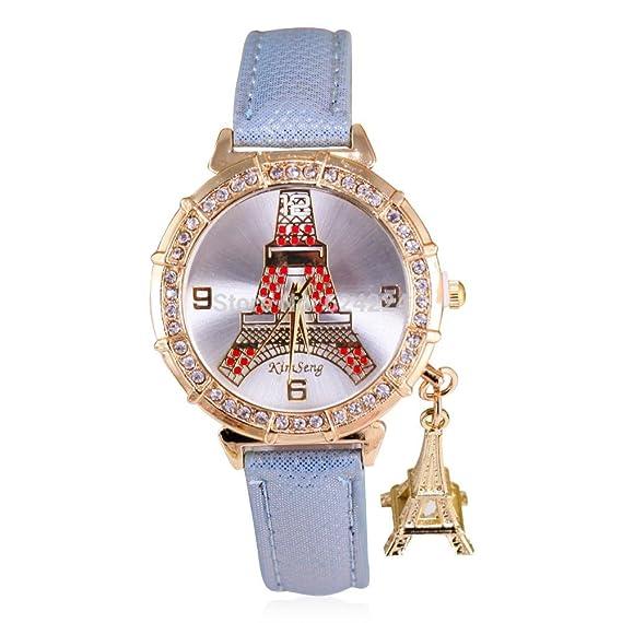Belleza regalo mujer reloj de cuarzo relojes mujer marca de lujo con colgante de la torre