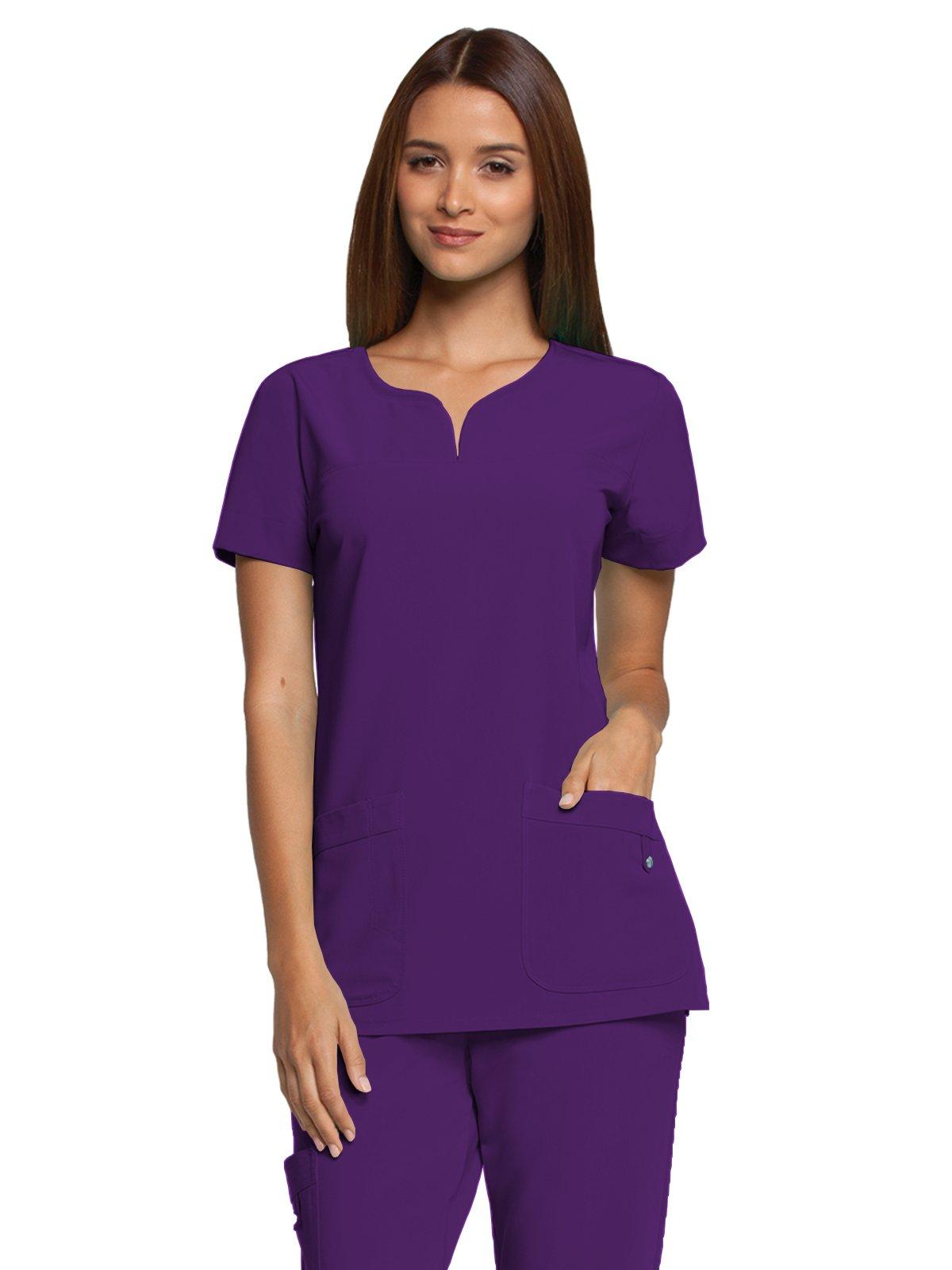 Grey's Anatomy Signature 2121 Notch Neck Top Plush Purple XL