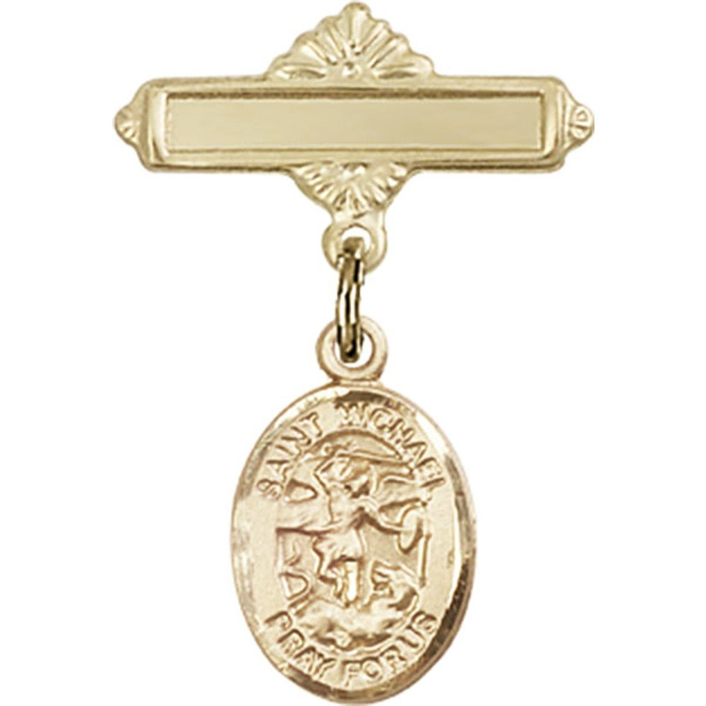 14kt Yellow Gold Baby Badge with St. Michael the Archangel Charm and Polished Badge Pin 1 X 5/8 inches by Unknown