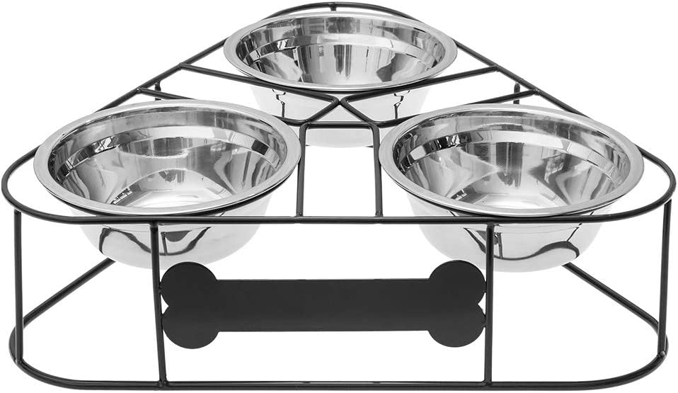 BINGPET Elevated Pet Feeder Raised Bowls for Dog & Cat, 3 Stainless Steel Bowls Food and Water Bowls with Arc Wire Stand, Come with Non-Slip Sheets
