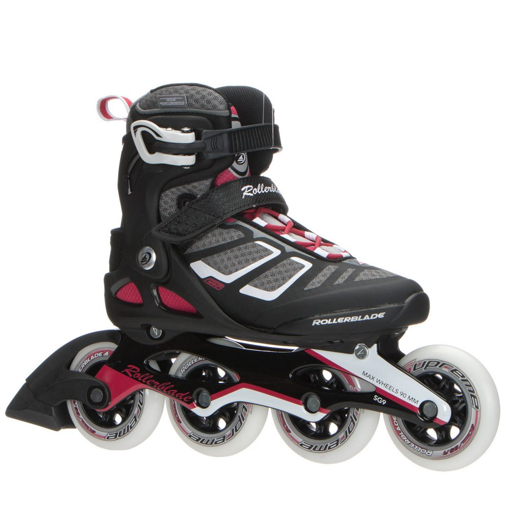 Rollerblade Macroblade 90 Alu Women's Adult Fitness Inline Skate, Black and Cherry, High Performance Inline Skates