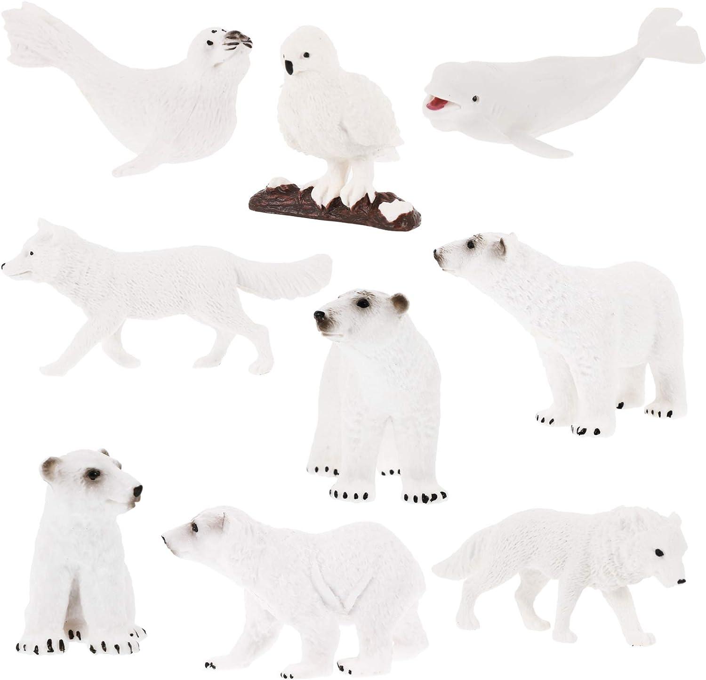 Yardwe 9pcs Miniature Polar Bear Figurines Mini Sea Ocean Animal Toy Figures Fairy Garden Wildlife Statues for Moss Landscape DIY Terrarium Crafts Ornament Accessories Random Style